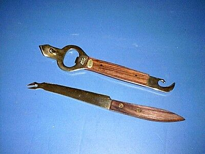 Vintage GOLD PLATED Can & Bottle Opener & Cheese Cutter Knife with Wood Handles