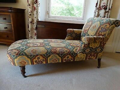 Stunning Antique Howard type hardwood scroll arm day settee chaise longe