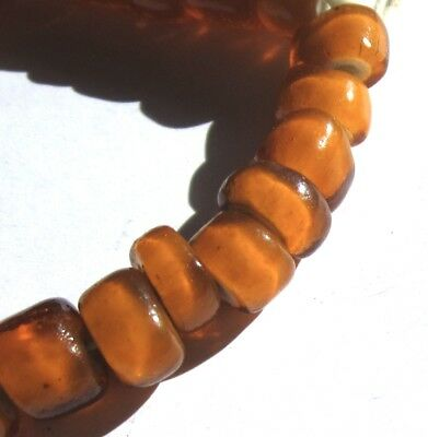 26 Rare Stunning Old Orange Venetian White Heart Antique Beads
