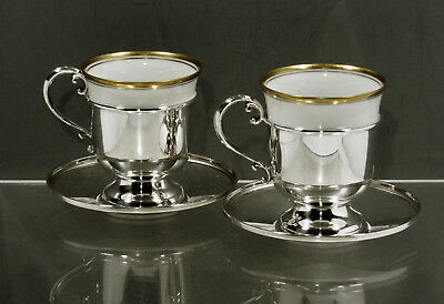 "Fisher Sterling Tea Set    2 Cups & Saucers & Liners         ""CARTIER POUCHES"""