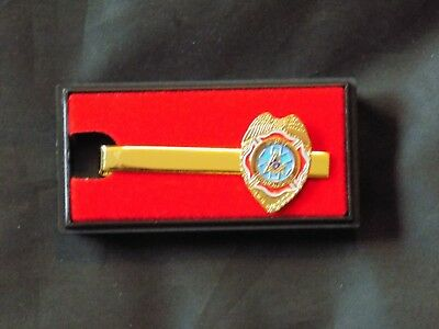 First Responder Masonic Tie Bar Necktie Gold Color Square Compass Fraternity NEW