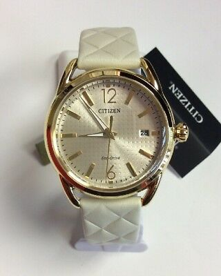 CITIZEN Women's Eco-Drive LTR Gold Tone Quilted Ivory Strap WATCH FE6082-08P
