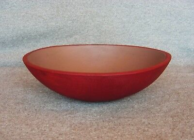 "Vintage Primitive Barn Red Paint Wood Chopping Dough Salad Bowl 13"" Out of Round"