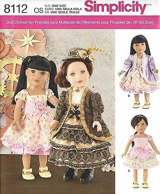 "18"" GIRL DOLL Clothes Simplicity 8112 UNCUT American Sewing Pattern ©2016"