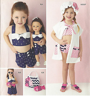 "18"" DOLL & Girls 3-8 SWIMSUIT, PLAYSUIT Bag Simplicity 1380 Sewing Pattern UNCUT"