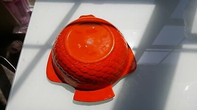 .*VINTAGE* MID CENTURY Metlox PoppyTrail Calif. *LG Orange Fish Shaped Bowl*