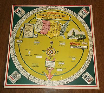 Vintage 1932 Kelloggs Cereal Mechanical Wheel of Knowledge US States Information