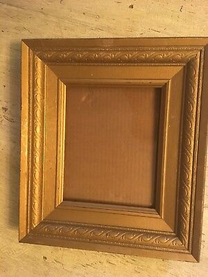 VTG WOOD WOODEN Frame Picture Art Wide Inward Slanted 14\