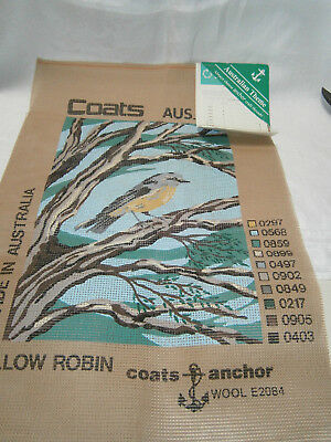 "Coats Anchor "" Yellow Robin "" Design Tapestry Canvas  Color Chart & Instructions"