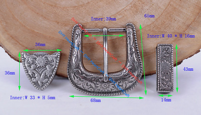 Quality Diy Western Cowboy Floral Engraved Antique Silver Belt Buckle Set 1-1/2""