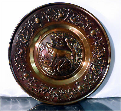 "10"" Pressed Copper Wall Display Plate, Elk scene, Made in Holland"
