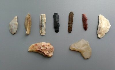 9 Various  Agate/Stone Scrapers Found in Mongolian Plateau-(Stone Age 5000BC)