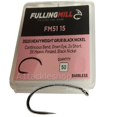 50 Fulling Mill 35115 Barbless Heavyweight Grubber Trout Fly Tying Hooks