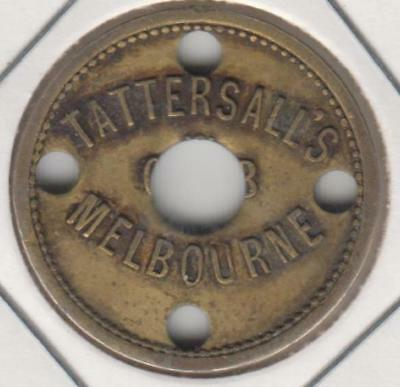 Check Piece, Tattersall's Melbourne, Sixpence.