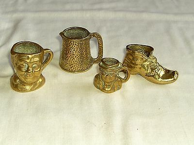 Selection Of Vintage Brass Novelty Jugs And Boot