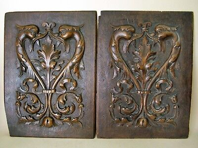 Pair Antique Carved Wood Dolphin Panels. Walnut French ?