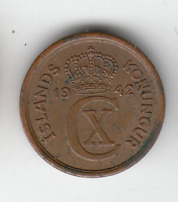 Iceland 1 Eyrir 1942 Copper Ef+         38J         By Coinmountain