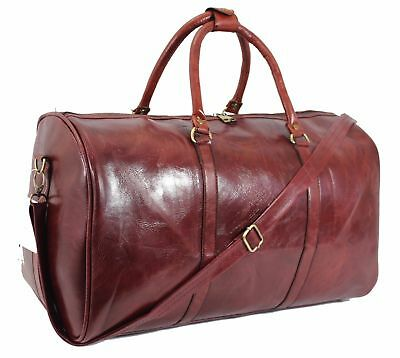 L Italian Leather Style Holdall Luggage Weekend Duffel Cabin Travel Bag Case RED