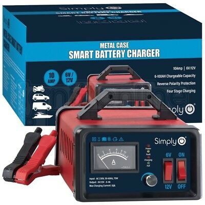Simply 6V / 12V 10Amp Smart Battery Trickle Automatic Charger Caravan Motorcycle