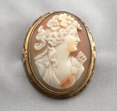 Vintage Antique Hand Carved Shell Cameo Brooch Pin Gold Filled GF/RGP Detailed