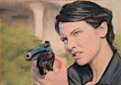 Original Maggie Greene The Walking Dead aceo sketch card watercolour painting