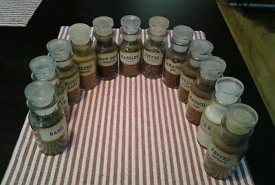 """12 Vintage John Wagner & Sons Glass Spice Jars Glass with Stoppers Round (4"""")"""