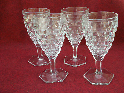 Vintage Fostoria American Hex Footed Goblets sold in sets of 4