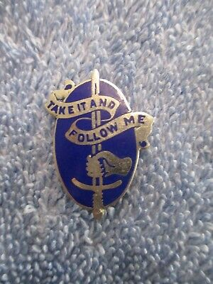 Sterling Silver WWII Take It And Follow Me US Army Infantry School Pin 6.4 Grams