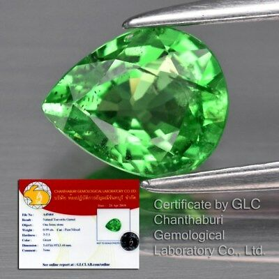 0.99ct 7x5.6mm Pear Natural Green Tsavorite Garnet, Tanzania *Free GLC Certified