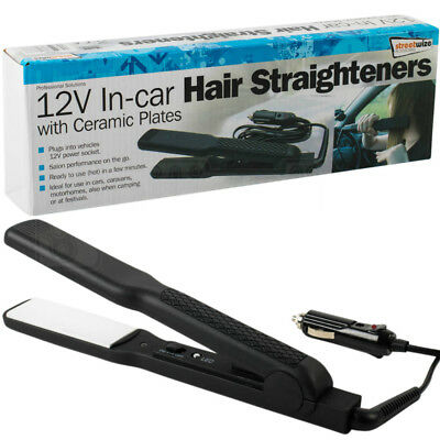 12V In-car Hair Straighteners Camping Festival Traveling With Ceramic Plates