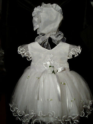 New Baby Girls White Christening Dress 3-6 Months with Bonnet