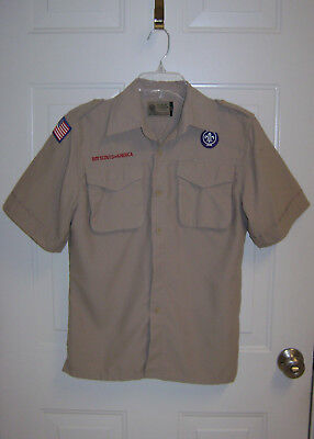 BOY SCOUTS OF AMERICA YOUTH LARGE TAN VENTED UNIFORM SHIRT Flaws-Read & see pics