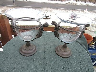 Vintage Pair ornate  Brass or metal  double Angels with Glass Vases large taiwan