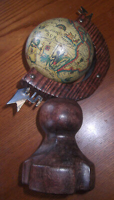 Vintage Cute, Handmade Small Wooden Mounted Globe With Ancient Reproduction Map
