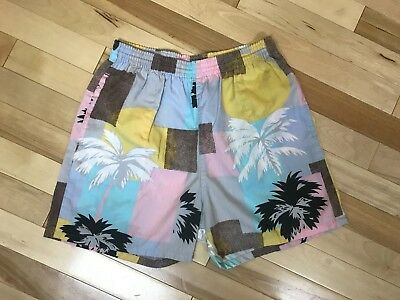 """Vintage 80's Pierre Bonee shorts Palm Trees Youth XL Adult 24"""" waist unstretched"""