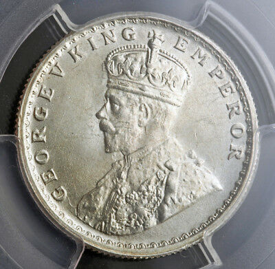 1924, India (British Government), George V. Silver ½ Rupee Coin. PCGS MS-64!