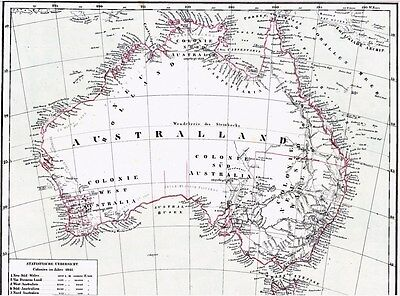 174 Jahre alte Landkarte AUSTRALIEN 1844 Australland & English Colonies in 1841