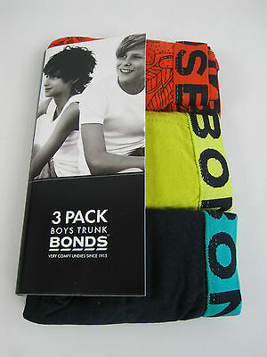 Bonds Boys Kids 3 Pack Cotton Trunks Underwear sizes 12 14 Colour Multi