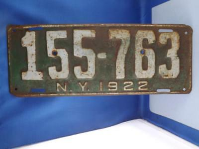New York License Plate 1922 155 763 Vintage Heavy Metal Collector Shop Sign