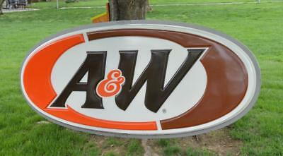 Massive! 4' x 8' A&W Restaurant Root Beer Advertising SIGN, Vintage