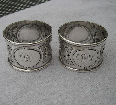 Fine PAIR Old COIN SILVER NAPKIN RINGS-Repousse Chased-NICE!-NR