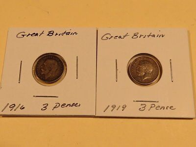 1916 & 1919 Great Britain Silver 3 Pence Coin Lot Of 2-Nice