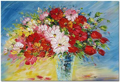 """Vase of Flowers - Hand Painted Contemporary Impressionist Oil Painting 24x16"""""""