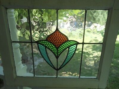 LA-135 Lovely Older Leaded Stained Glass Window From England 24 3/4 X 20 1/2