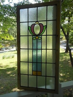 LA195 Lovely Older Leaded Stain Glass Window F/England Reframed About 20 X 41