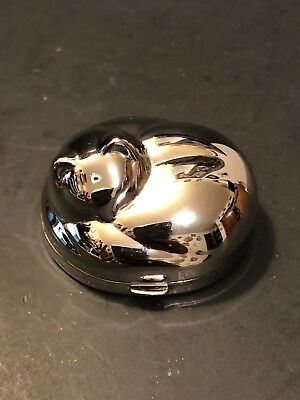 Debbie J Palmer Silver Pill Box Holder Trinket Curled Up Kitty Cat with Box