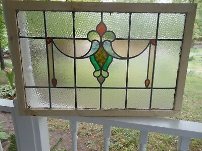 """GO-161 LARGE Lovely Older Leaded Stain Glass Window F/England 35"""" W X 22 1/2 """" T"""