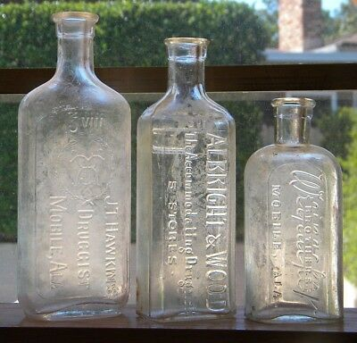 Mobile Alabama - THREE DIFFERENT VINTAGE PHARMACY BOTTLES - Ala.