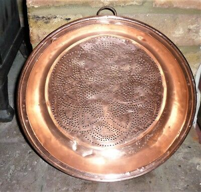 Antique French C1900-20's Large Sized Copper Straining Pan: Kitchen/dairy Use