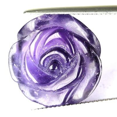 #*16.06 cts. 18.4 x 8.6 mm.UNHEATED NATURAL VIOLET HANDCRAVED FLOWER AMETHYST TA